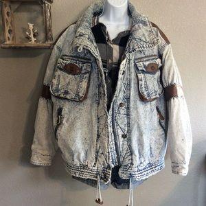 Rad 80's Acid Wash Denim Jacket w Faux Leather